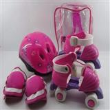 Patines 4 Ruedas Niñas Ajustables+ Kit Proteccion Rosado|carulla.com