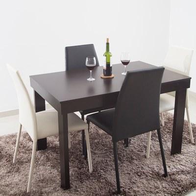Comedor 4 puestos mesa Wengue Sillas Negro Blanco | carulla | PLU ...