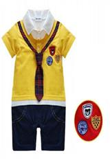 Mameluco Tipo Short Azul Camisa Amarilla Corbata a Cuadros carulla.com