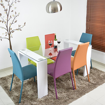 Juego de Comedor 6 sillas mesa Blanco con vidrio | exito | PLU ...
