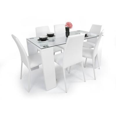 Comedor 6P Blanco vidrio templado 8 mm 6 Sillas B | carulla ...