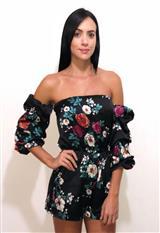 Enterizo Corto Satin Estampado Lulumary 450 Flores carulla.com