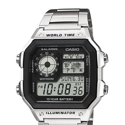f3e379d933c6 CASIO--Reloj Casio AE-1200WHD-1A Digital Acero Inoxidable Plateado -exito