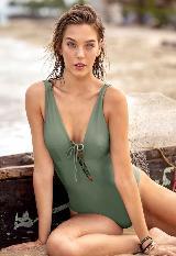 Vestido de Baño Entero con Escote Profundo y Cordón Frontal carulla.com