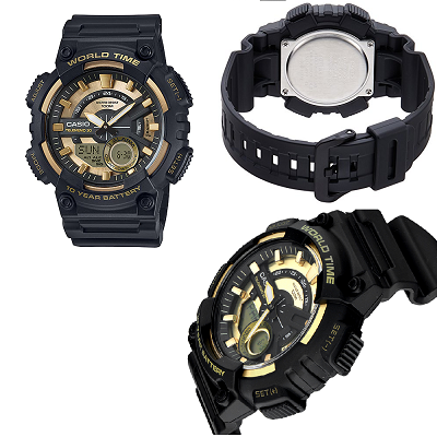 d3d3bdf7ea5b CASIO--Reloj Casio Aeq-110Bw-9A Negro Fondo Dorado Telememo-exito