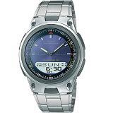 Reloj Casio Aw-80D-2A Plateado Azul Correa Acero Inoxidable|carulla.com