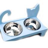 Comedero para gato en madera cuadrada doble coca lolita|carulla.com