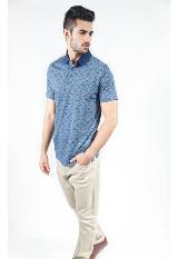 1ef046ec0 Camisa Polo Manga Corta Azul Con Rombos