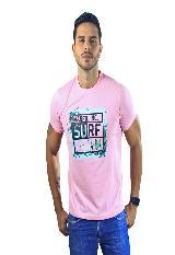 Camiseta Hombre manga Corta Slim Fit Rosado Marfil Surf carulla.com