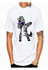 Camiseta unisex blanca con zebra en movimiento Dab|carulla.com