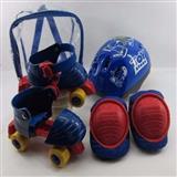Patines 4 Ruedas Niños Ajustables+ Kit Proteccion Azul carulla.com